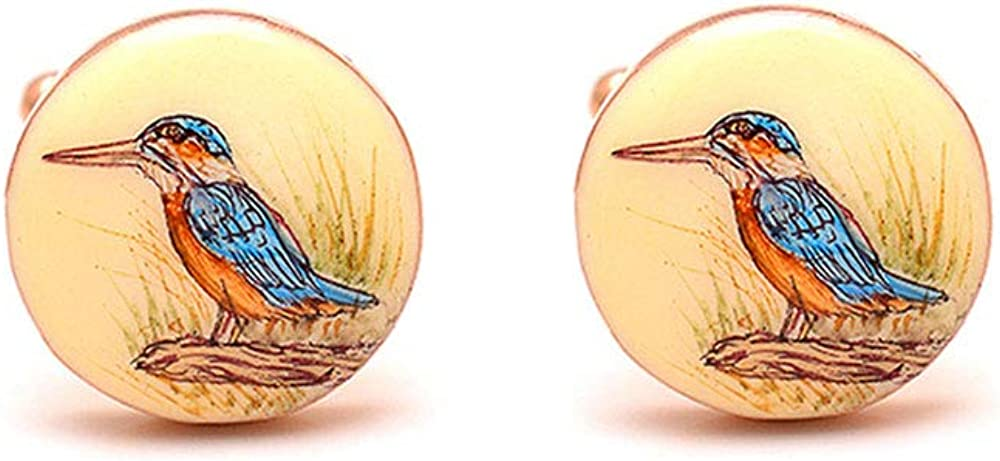 Rosec Jewels Customized Unique Kingfisher Bird Men Cufflink, Custom Hand Painted Vintage Cufflink, Gold Plated Wedding Groom Cufflink, Enamel Personalized Cufflink