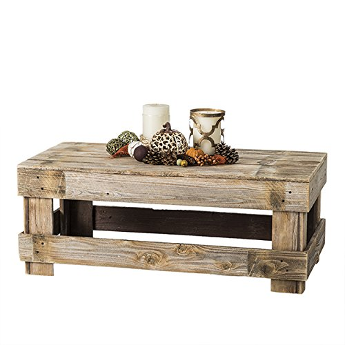 Natural Reclaimed Barnwood Rustic Farmhouse Coffee Table, USA Handmade Country Living Decor (Distressed Natural)