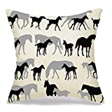 N\A Decorative Linen Throw Pillow Cover Gallop Horses Mares White Foals Recreation Breading Allure Active Run Walk Design Galloping Moving Comfortable Square Cushion Case for Car Couch Bed