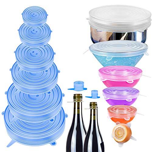 StillCool 16 Pack Couvercles Extensibles en Silicone Alimentaire Réutilisables sans BPA pour la Conservation des Aliments, Micro-Ondes/Congélateur
