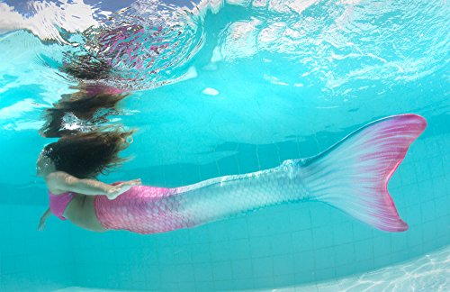 Fin Fun Limited Edition Wear-Resistant Mermaid Tail for Swimming, Kids and Adults, Monofin Included, for Girls and Boys, Bahama Blush, Youth 6