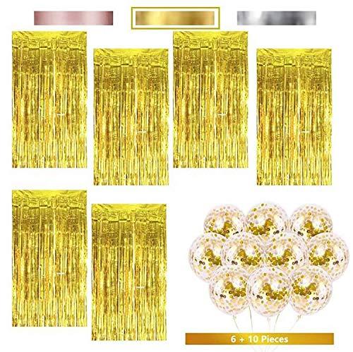 KYONANO Lametta Vorhänge, 6 STK Metallic Tinsel Vorhänge (1m x 2m) mit 10 STK Latex Konfetti Luftballon, metallischer Glanz Fransenvorhang, Glitzervorhang für Weihnachtsdeko Party Gold(16er/Set)