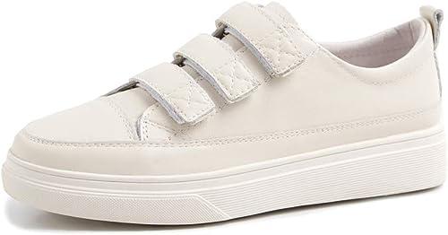 ZYN-XX Velcro Chaussures Blanches Mode Chaussures de Fondation Sauvages Femmes Confortables en Cuir Plat étudiant Chaussures Blanches Chaussures Plates Rondes Une pédale Chaussures paresseuses