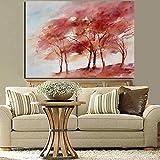 Domrx Pintura Abstracta Creativa de árbol Rojo con impresión HD en Lienzo Paisaje artístico Imagen de Pared para decoración de Sala de estar-60x90cm sin Marco