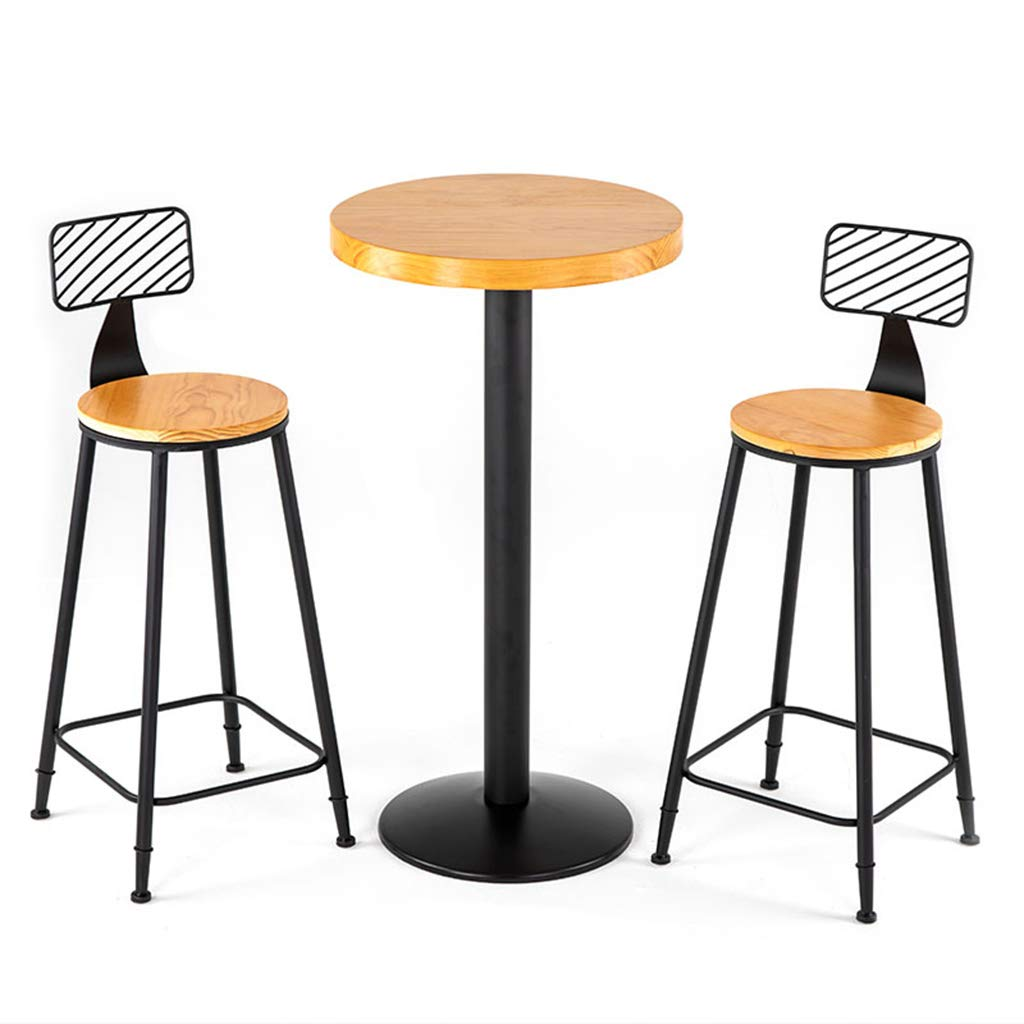 Amazon Com Wrrac Chair 3 Pcs Table Stool Set Kitchen Counter Bar Table With 2 Bar Chairs Industrial Design Metal Frame Solid Wood Seat 29 5inch Tall Table Chair Sets