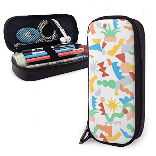 OUYouDeFangA - Bolsa de almacenamiento de piel sintética con patrón geométrico de colores, bolsa de papelería portátil para estudiantes, oficina, carteras con cremallera, bolsa multifunción para maquillaje