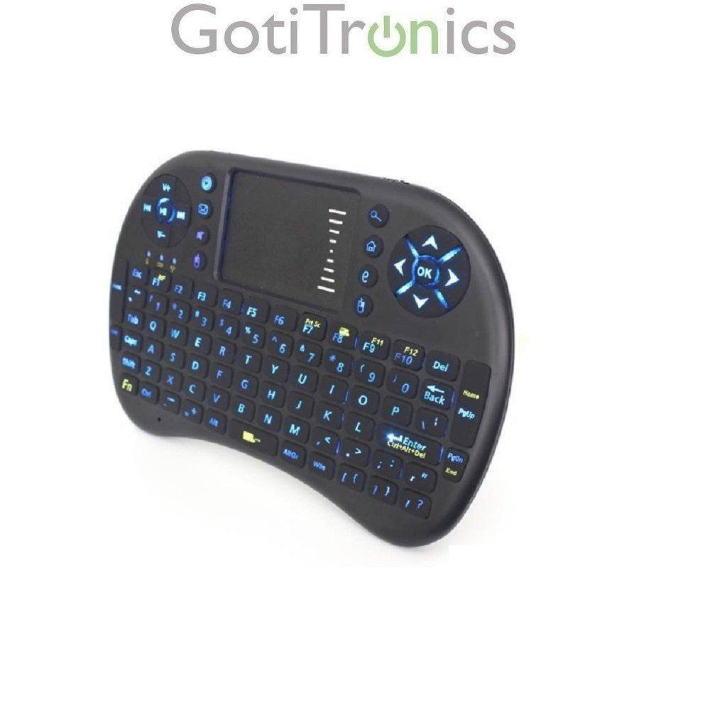 GotiTronics Mini Teclado Inalámbrico Multimedia con Retroiluminación del teclado, Ratón Táctil y Batería Recargable USB integrada para Android TV Box, Google TV Box, PlayStation, Xbox 360, HTPC / IPTV) and Smart TV (