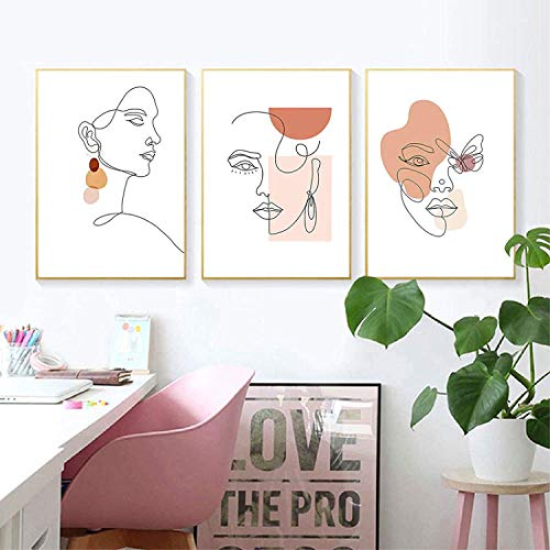 Refosian Ligne Abstraite Visage géométrique Mur Art Toile Peinture Corps Art Affiches et Impressions Photos murales pour Salon décor 20x30cmx3 pièces sans Cadre