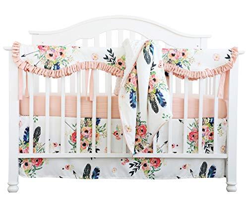 Crib Rail Guard Set Boho Floral Nursery Baby Bedding Ruffled Crib Skirt Crib Rail Cover Set (Ruffle Feather Floral)