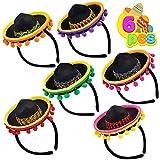 6 PCS Cinco De Mayo Fiesta Fabric Sombrero Headbands Party Costume for Fun Fiesta Hat Party Supplies, Luau Event Photo Props, Mexican Theme Decorations, Dia De Muertos and Party Favors.