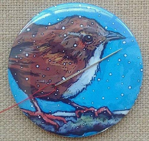 """Magnetic Needle Holder,""""Pin Cushion"""", 3.5"""", Bird in Winter, Wren, Snowflakes, Art by Maker"""