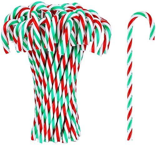 ECHG 54 piezas de plástico para árbol de Navidad de bastón de caramelo para colgar adornos de árbol de Navidad para Navidad, vacaciones, año nuevo, decoración del hogar, regalo de fiesta