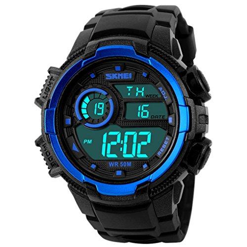 SKMEI - Reloj Digital LED Deportivo Impermeable Multifunciones Alarma Cronómetro con Doble Horarios Movimiento de 2 Movimientos - Azul
