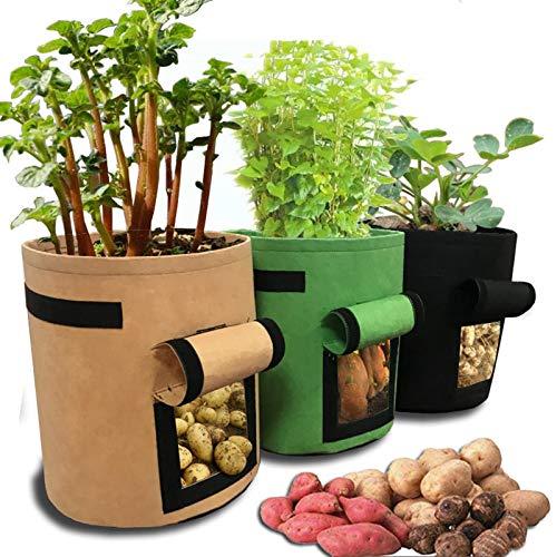 WXHXSRJ Bolsas de Cultivo de Patatas, Paquete de 3 Bolsas de Cultivo de Plantas, Bolsas de Plantas de macetas de Tela no Tejida de aireación, con Asas, Biodegradable,S