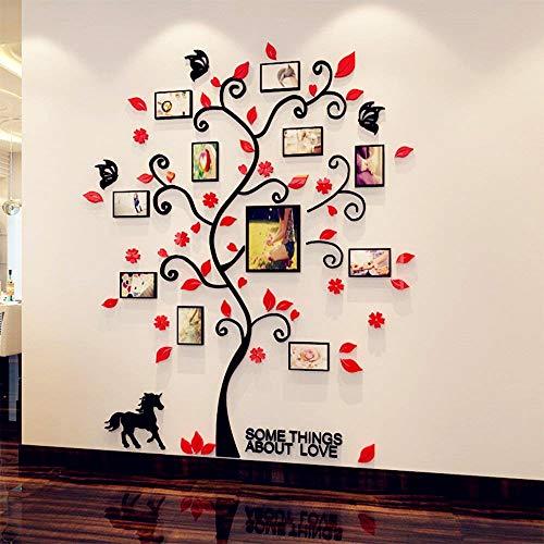 Fabric Home DIY 3D-Wandsticker Creative Family Life Tree Fotorahmen Kristall Acryl Aufkleber Kunst Wandbild für Wohnzimmer Schlafzimmer Aufkleber Home Decor - Medium - rot