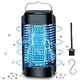 Oryidr Lámpara Antimosquitos Eléctrico 18W UV LED Lámpara Mata Insectos Impermeable 4000V Alta Potencia IPX6 Impermeable Luz Mata Insectos Moscas Polillas para Interior y Exterior (Negro)