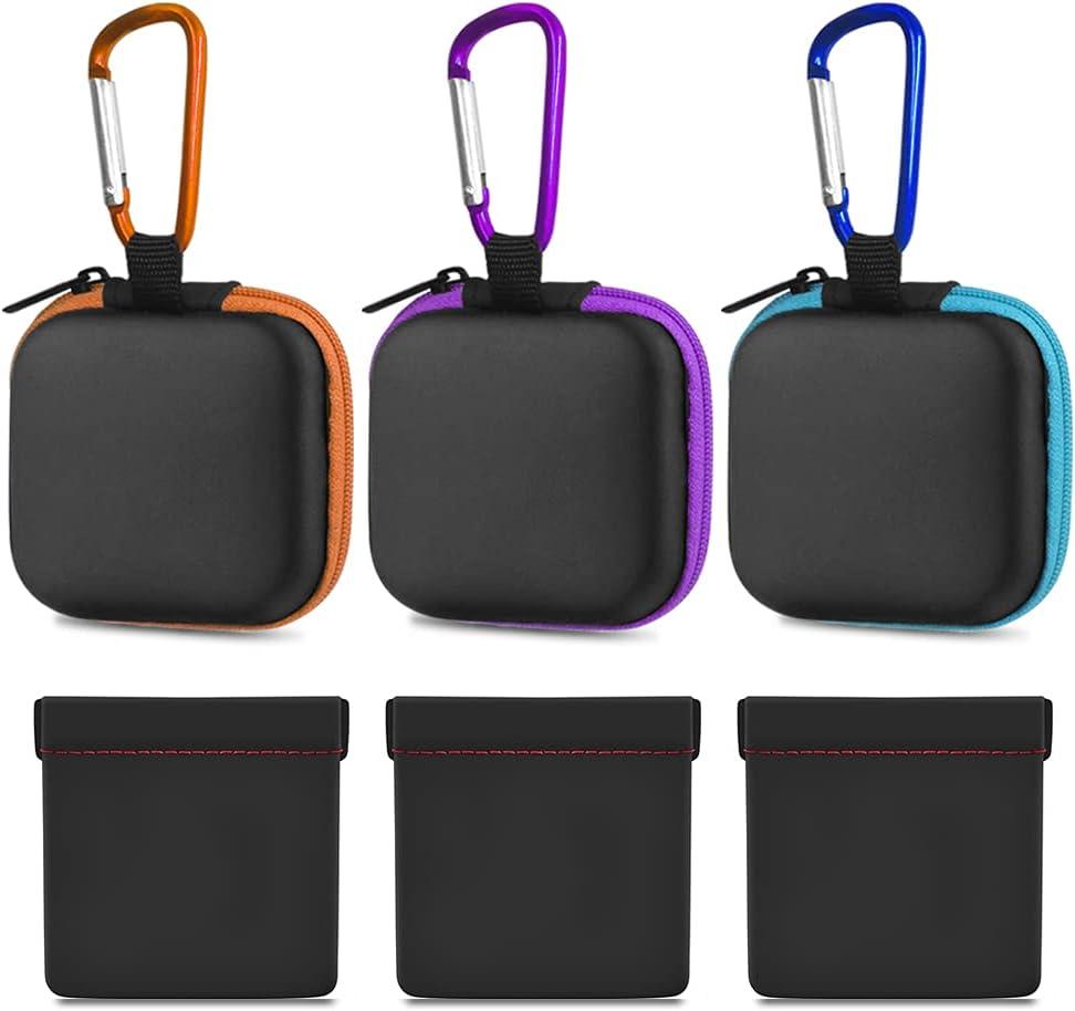 FineGood - Estuche para auriculares de 6 piezas con mosquetón, Estuche portátil para audífonos Estuche protector a presión para audífonos