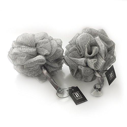 1541 London, fleur de douche exfoliante pour le corps, éponge bouffante pour le bain et la douche, gris argenté