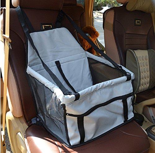 Ducomi DogSit Pet Autositz für Hunde und Katzen, Atmungsaktive wasserdichte Sitzbezug mit Sicherheitsleine, Kleine Hundewelpe Reise Car Protector Tragetasche (Grau)
