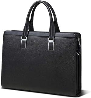 Mens Messenger Bag PU Leather Work Satchel Handbag Office Briefcase Office Briefcase Vintage Diagonal Cross Bag (Color : Black, Size : Free Size)