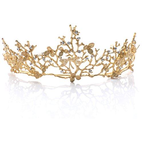 Handcess Corona de boda y tiara flor nupcial princesa reina corona barroco...