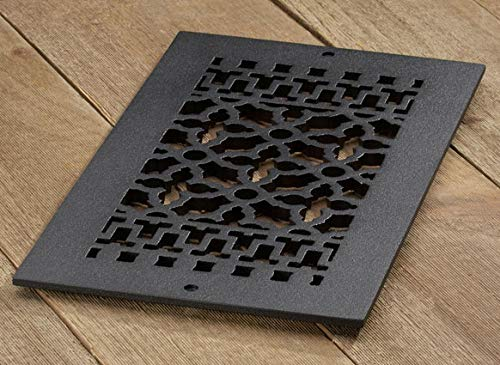 """Reggio Register Scroll Series - Cast Iron Metal - Floor Grille 814-NH (12"""" x 6"""", Black Without Holes)"""