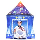 Kids Rocket Play Tent for Boys, Spaceship Playhouse Toys, Children's Astronaut Space Ship Tents, Foldable Gifts for Indoor Outdoor Games