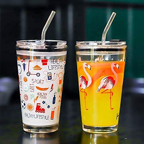 KRIVAT Random Design Cartoon Pattern Tumbler Glass (Set of 2)Multipurpose Drinking Measuring Mug/Cup with Silicone Straw and Glass Lid Drink for Milk,Tea,Coffee,Juice,Thick Shake Cup & Mug (Set of 2)