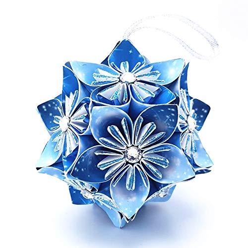 Palla di Natale originale impreziosita con cristalli Swarovski® - idea regalo - decorazione per l'albero - Fatto a mano di carta - Blu Azzurra - Large 9 cm con scatola 10x10x10 cm
