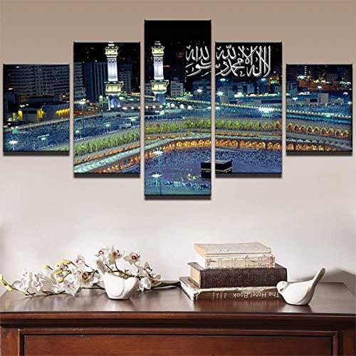 jqnxww Arte de la Pared Pintura de la Lona Marco de la Habitación Decoración para el hogar 5 Unidades Mezquita Islámica Castillo Paisaje Fotos Alá El Corán Cartel-Cuadro