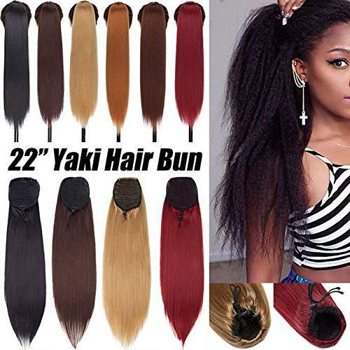 Afro Bouffée Crépus Droit Queue de cheval Extension de Cheveux Naturels Yaki Bun High Puff Ponytail Postiche Pour les Femmes Auburn lumière
