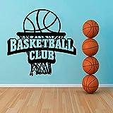 yaonuli Baloncesto Club Deportes Decoración de Pared Apliques Habitación de niño Baloncesto Red Caucho Negro Etiqueta de la Pared Dormitorio Decoración del hogar 66X63cm