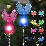 2 Stück Engel Pfahlbeleuchtung, Solarlampen für Außen Gartendeko, LED Gartenleuchten, Mehrfarbige Wechselnde Wetterfest Solarleuchte, Landschaftsleuchten für den Garten/Rasen/Weg, Hochzeitsdeko