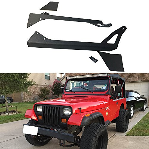 """AUSI Pair 1987-1995 Jeep Wrangler YJ Upper Roof Windshield A-pillar Mounting Mount Brackets for Straight 50"""" Inch 288W LED Work Light Bar"""