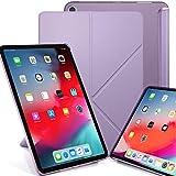 KHOMO iPad Pro 12.9 (3 Gen) Funda Origami Semi Transparente con Smart Cover Protección Delantera y Trasera para Nuevo Apple iPad Pro 12.9-2018 - Violeta