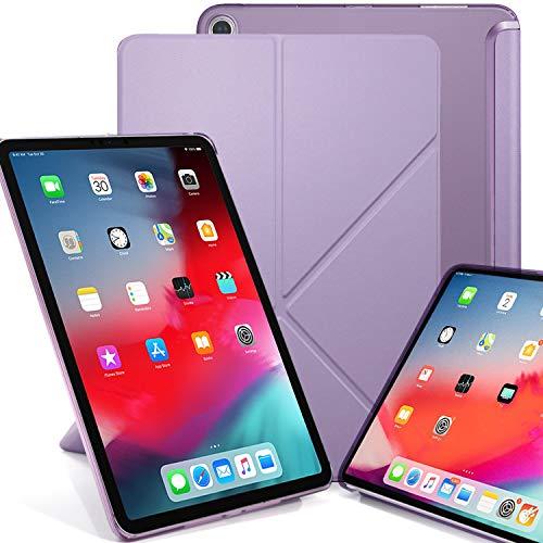 KHOMO iPad Pro 12.9 2018 Smart Cover Schutzhülle mit Halbdurchsichtiger Silikonrückseite und Origami Aufstellungsmöglichkeiten - Violett