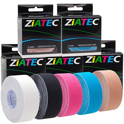 ZiATEC Pro Kinesiologie Tape | Schmales, elastisches und wasserfestes Sport-Tape - Physio-Tape - Therapie-Tape (4,5 m x 2,5 cm), Größe:2.5 cm - Breite, Farbe:1 x beige
