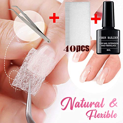 bluestercool Extension d'ongle en Fibre de Verre Nail Art Léger et naturel Faux Ongles Non-tissés Silks Fibernails set kit de gel Fibre de verre Outils Français De Manucure Home Salon Manicure Tool