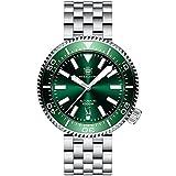 Reloj de buceo automático SD1976 para hombre, 100 bar, verde, con correa de acero inoxidable, cristal de zafiro, bisel de cerámica