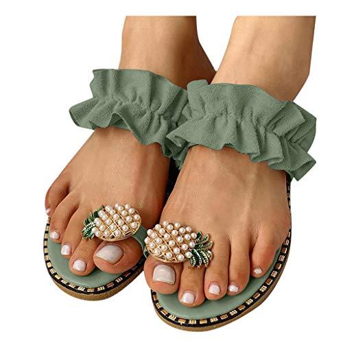 Dasongff Sommersandale Damen Böhmen Slip-On Ananas-Perlen Strandschuhe Outdoor Open Toe Atmungsaktive Sandalen Flach Spitzen Plissee Sommerschuhe Zehentrenner Flip Flop