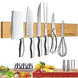 Frasheng Barra Magnetica para Cuchillos,Soporte cuchillos cocina,Soporte Magnético Cuchillos,40CM Barra Magnética para Cuchillos, Herramientas,Organizador de Herramientas Magnetico,Madera natural