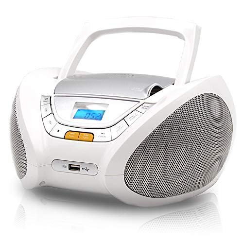 Lauson Woodsound Boombox with Cd Player Mp3 | Portable Radio CD-Player Stereo with USB | USB & MP3 Player | Headphone Jack (3.5mm) CP543 (White)