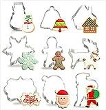 HONYAO Navidad Cortadores Galletas Invierno Moldes para Galletas - 9 Piezas - Borde Largo, Papá Noel, Copo de Nieve, Hombre de Jengibre, Fawn, Muñeco de Nieve, Campana y Casa - Acero Inoxidable