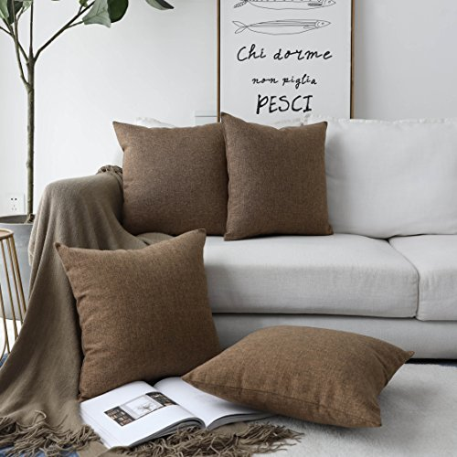 Home Brilliant Decor Burlap Faux Linen Square Throw Pillowcase Cushion Covers for Bench, 4 Pack, 18'