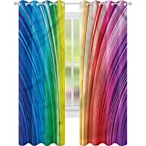 jinguizi Cortina de ventana con rayas psicodélicas, 42 x 72, cortinas opacas para dormitorio de los niños
