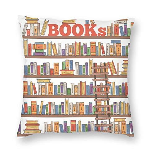 NiBBuns - Funda de almohada decorativa para libros, estanterías de biblioteca, estilo doodle, diseño cuadrado, funda de cojín estándar para hombres y mujeres, decoración del hogar, 45,7 x 45,7 cm