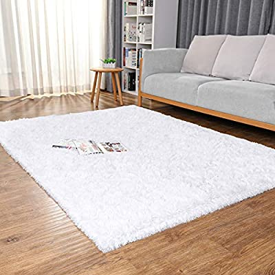 Ophanie Machine Washable Area Rugs for Living Room, Ultra-Luxurious Soft and Thick Faux Fur Shag Rug Non-Slip Carpet for Bedroom,Home Decor Rug, 4x5.3 Feet, White