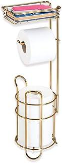 mDesign porte papier toilette sur pied – dérouleur papier wc avec une surface de rangement pour les lingettes – distribute...