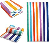 OrganicMate Large Beach Towels Set of 2 - 35x70 Soft & Absorbent Oversized Sheet Made of 100% Organic Cotton - for Swimming Pool, Home, Bath, Spa & Outdoor Use - Bright Colors Elegant Striped Design