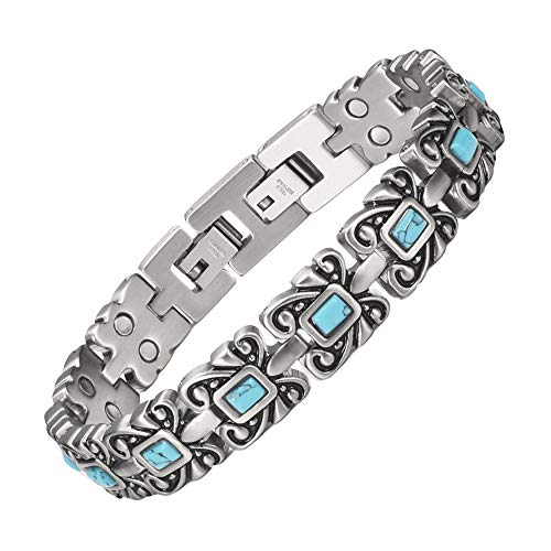 YINOX Magnetic Therapy Bracelets for Women Ladies with 12PCS Turquoise Bracelet, 24PCS Magnets, 18.5cm, Can Lengthen to 20cm, Adjustable Size(STB-2318)